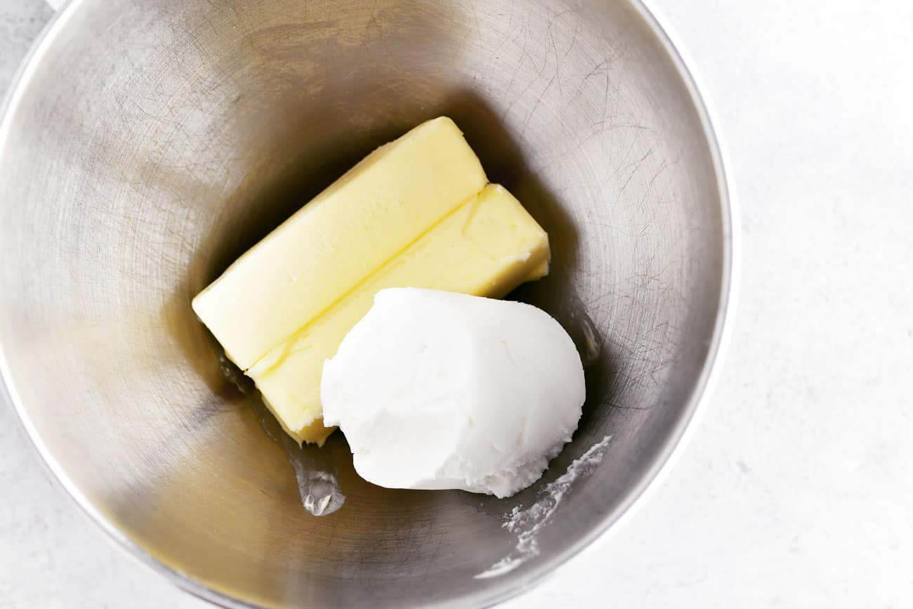 butter and shortening in mixing bowl