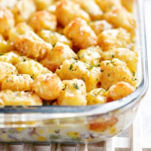 tater tot casserole on cooling rack