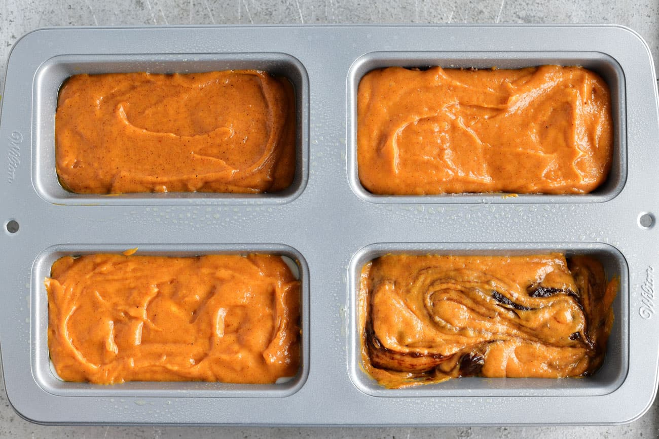 four kinds of pumpkin bread in one pan