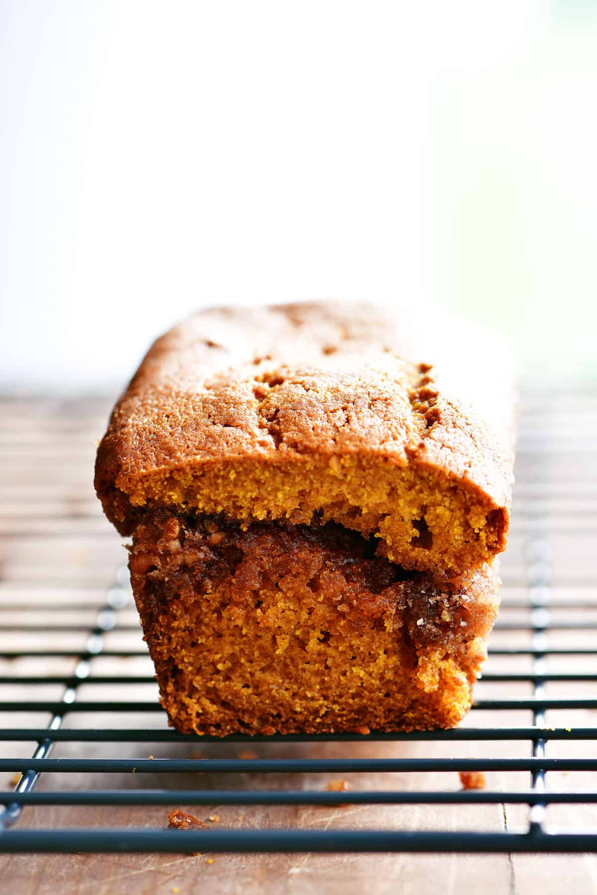 cinnamon pumpkin bread on cooling rack