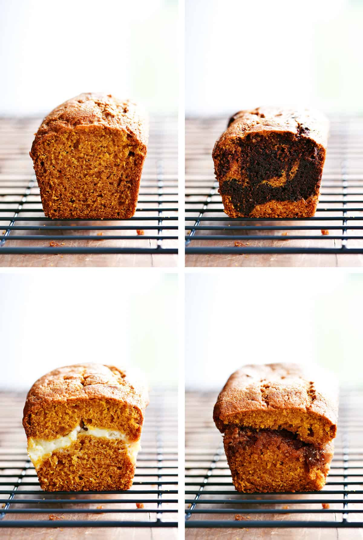 photo collage showing four kinds of pumpkin bread