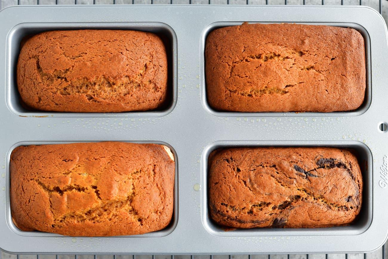 baked pumpkin breads in pan