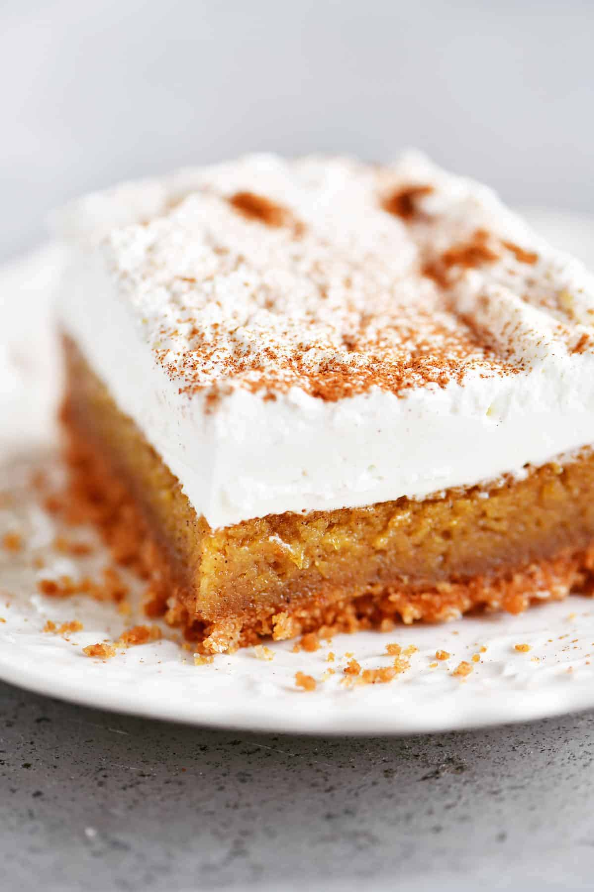 pumpkin bar on a white plate