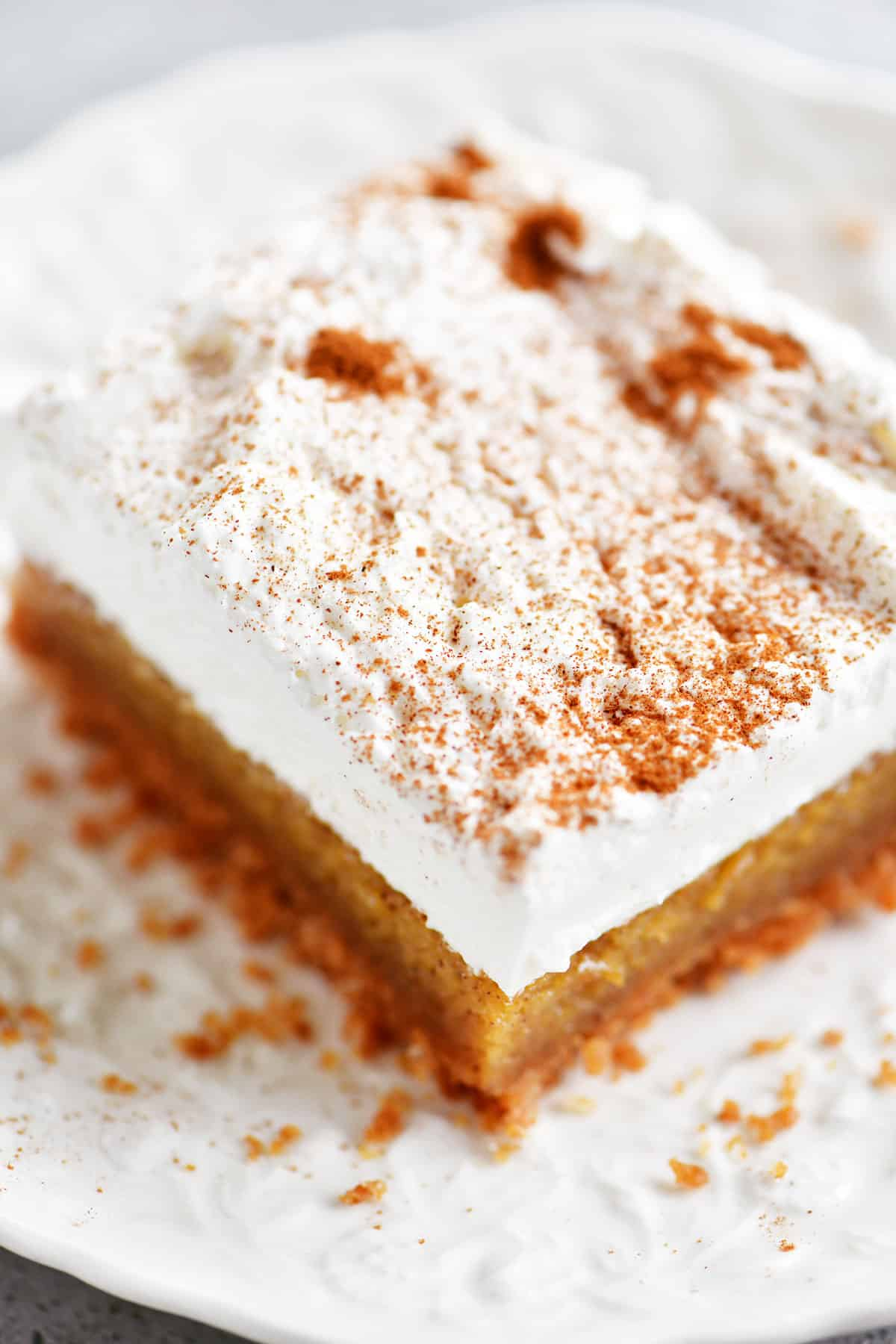 pumpkin bar slice with whipped cream on top