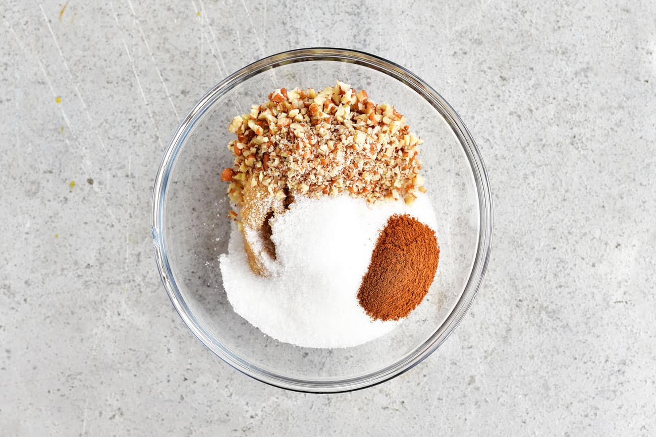 cinnamon streusel ingredients in a bowl