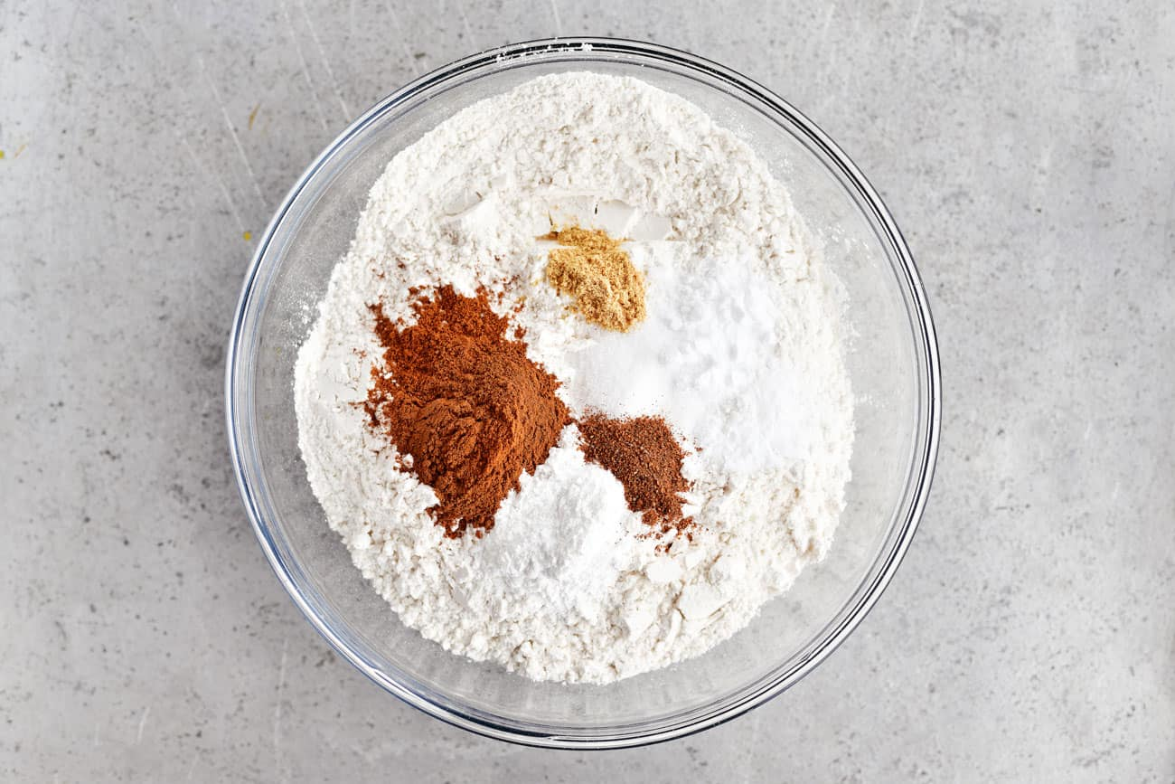 dry ingredients for pumpkin bread in bowl