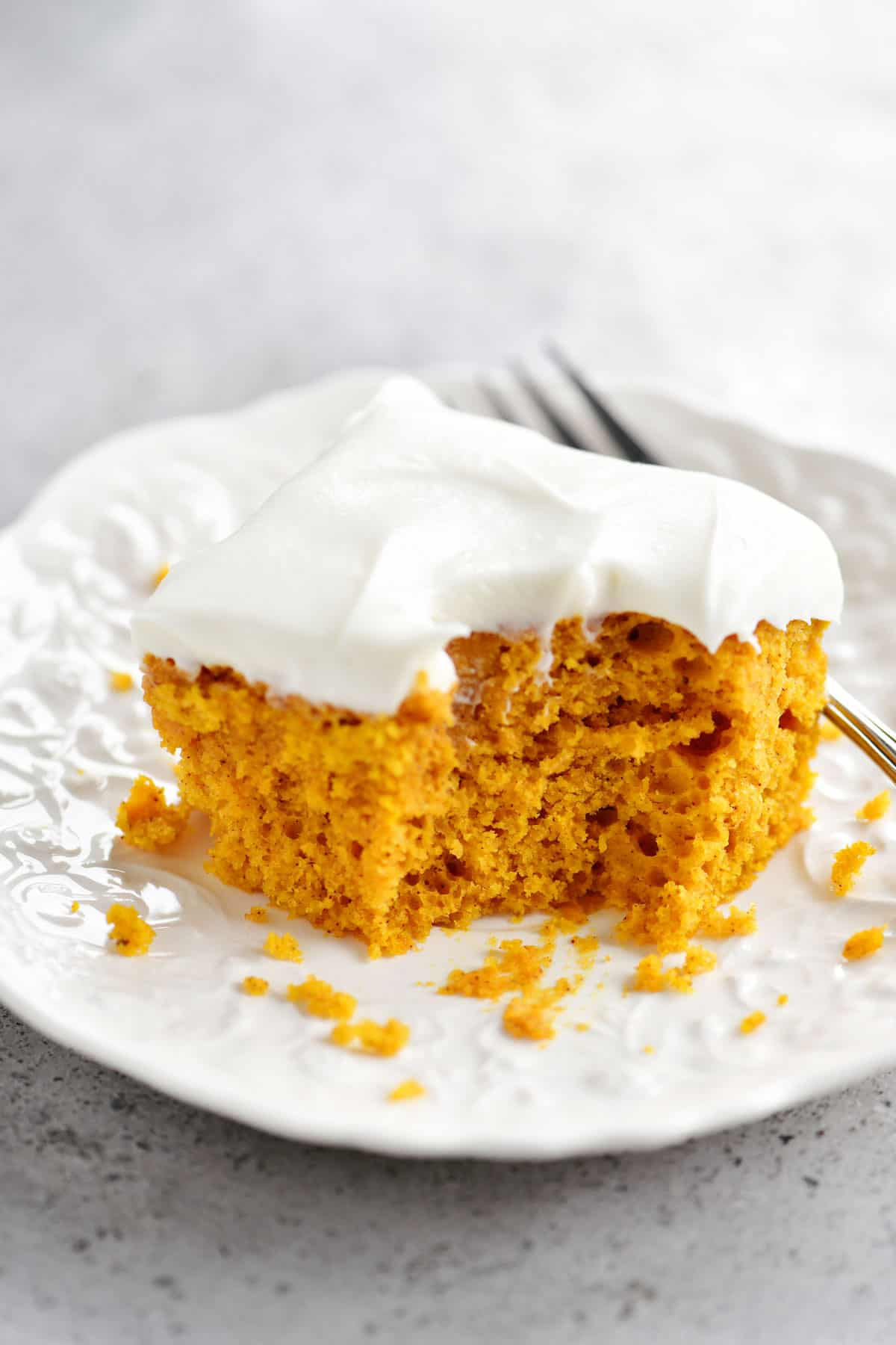slice of pumpkin bake with bite removed
