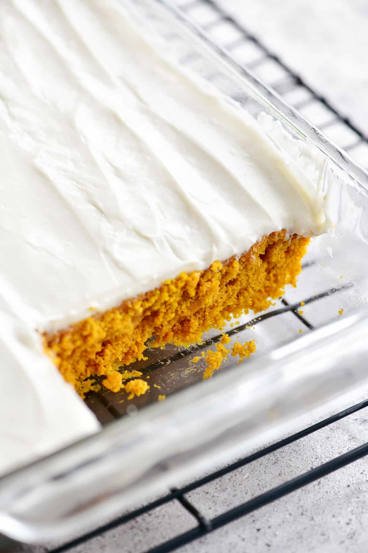 pumpkin cake with slice removed
