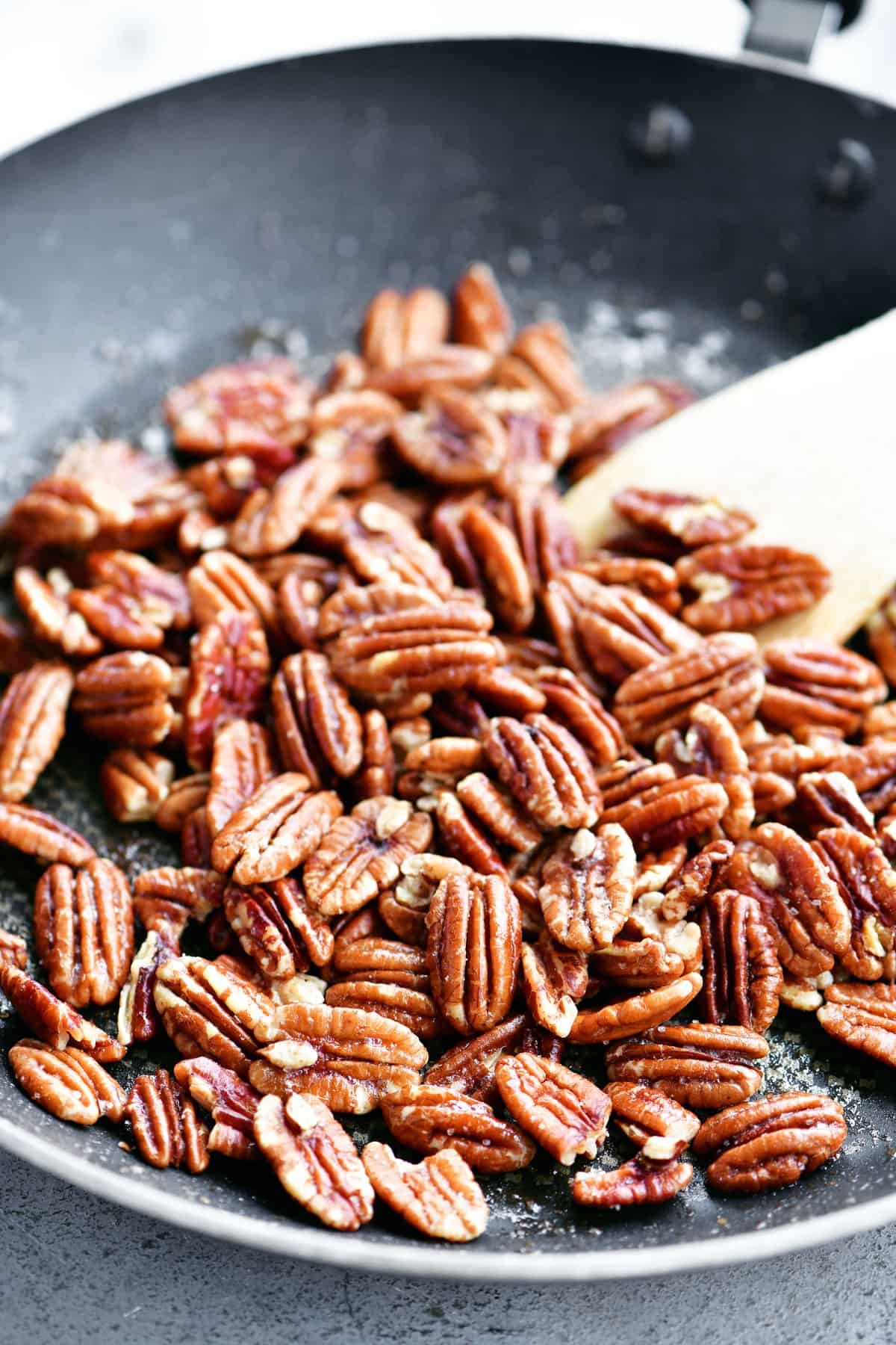 toasting pecans in a skillet