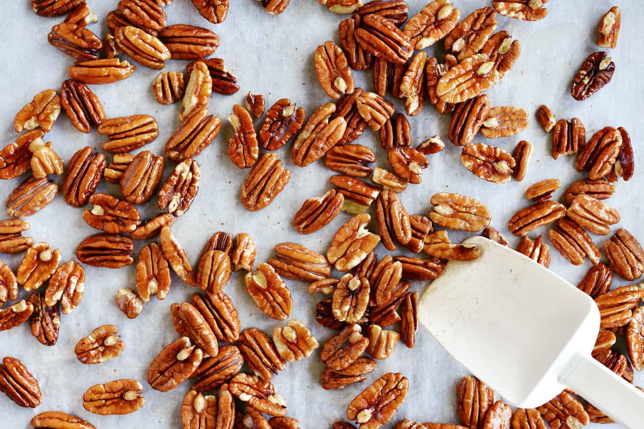 pecans coated with butter and salt