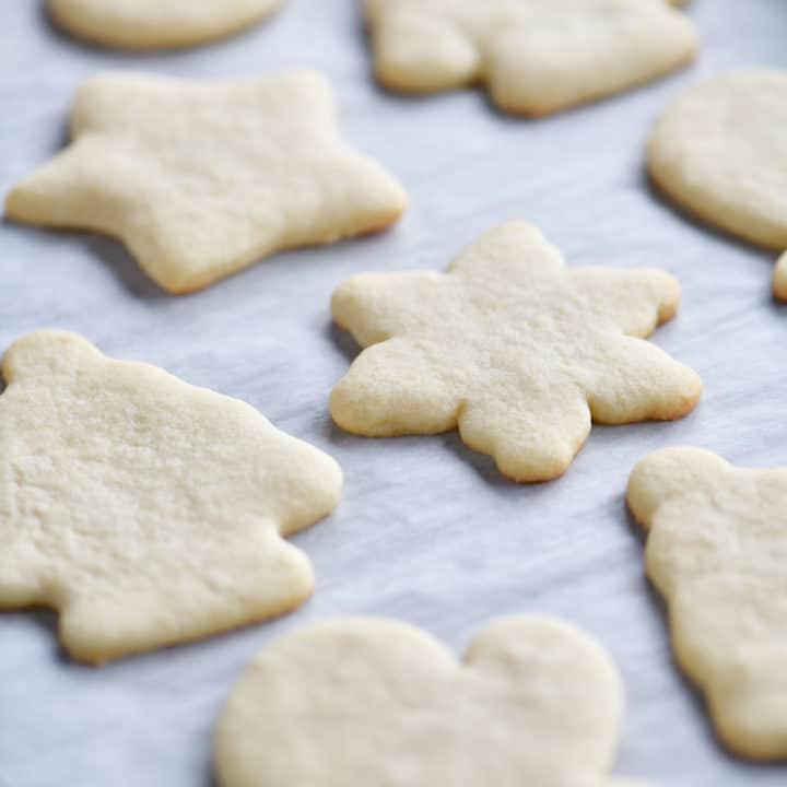 baked sugar cookies on pan