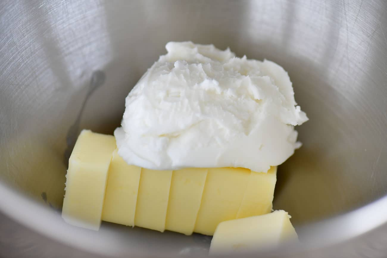 butter and shortening in a bowl