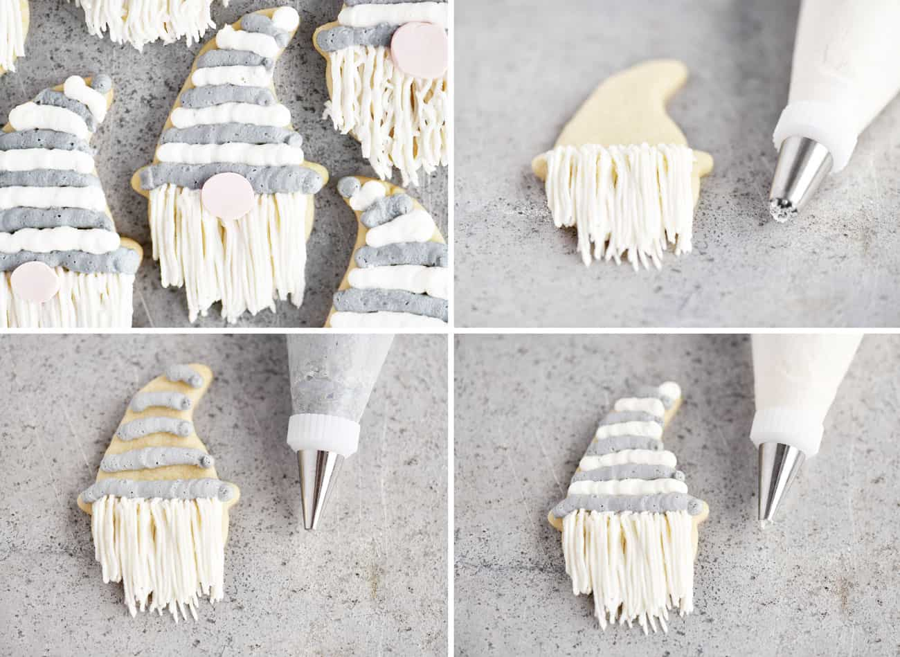 collage of photos showing how to decorate gnome sugar cookies
