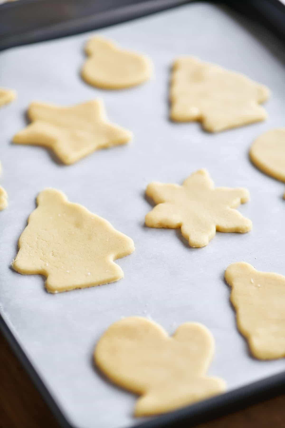 unbaked sugar cookies on baking sheet
