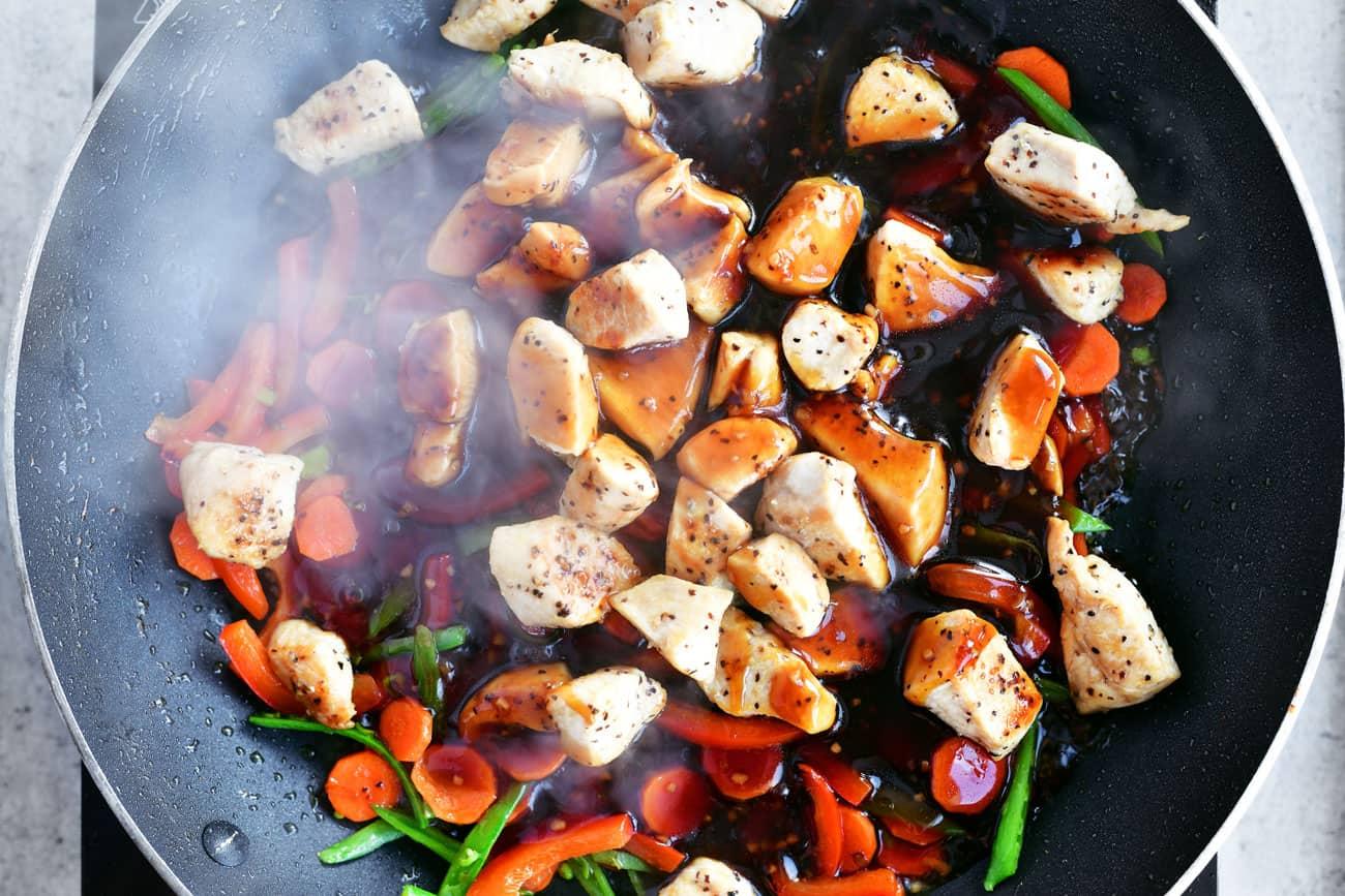 teriyaki sauce on chicken and vegetables