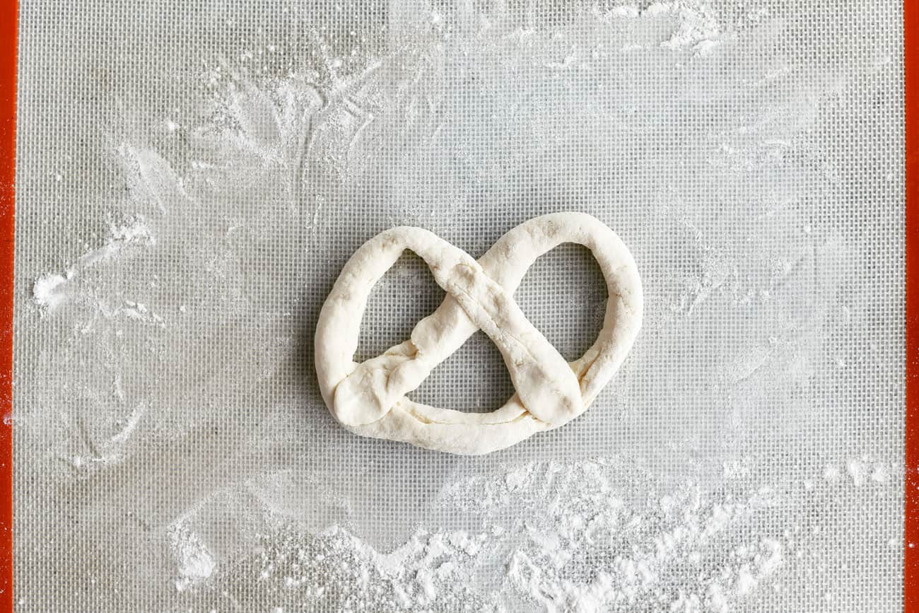 dough formed into a pretzel shape