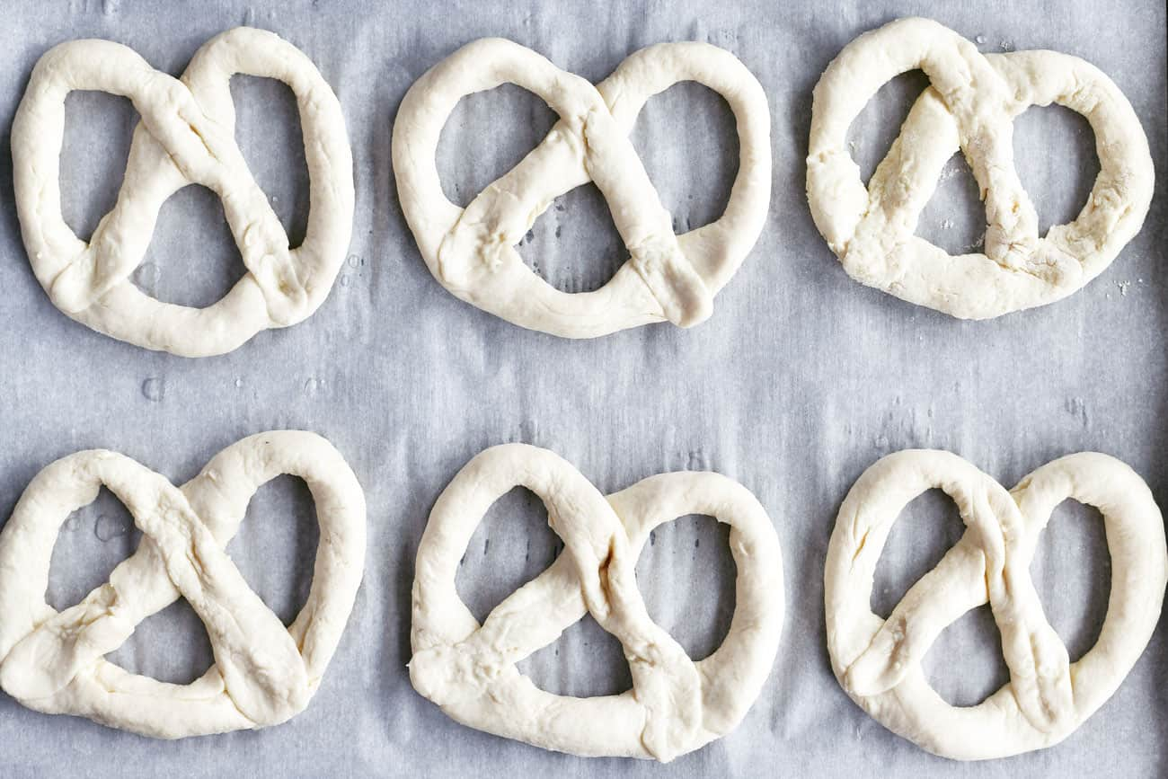 soft pretzel dough on baking sheet