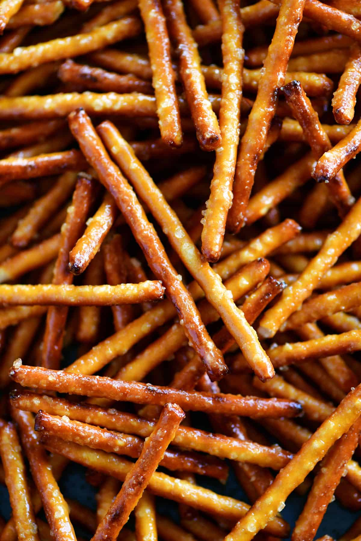 close up of honey mustard pretzel sticks