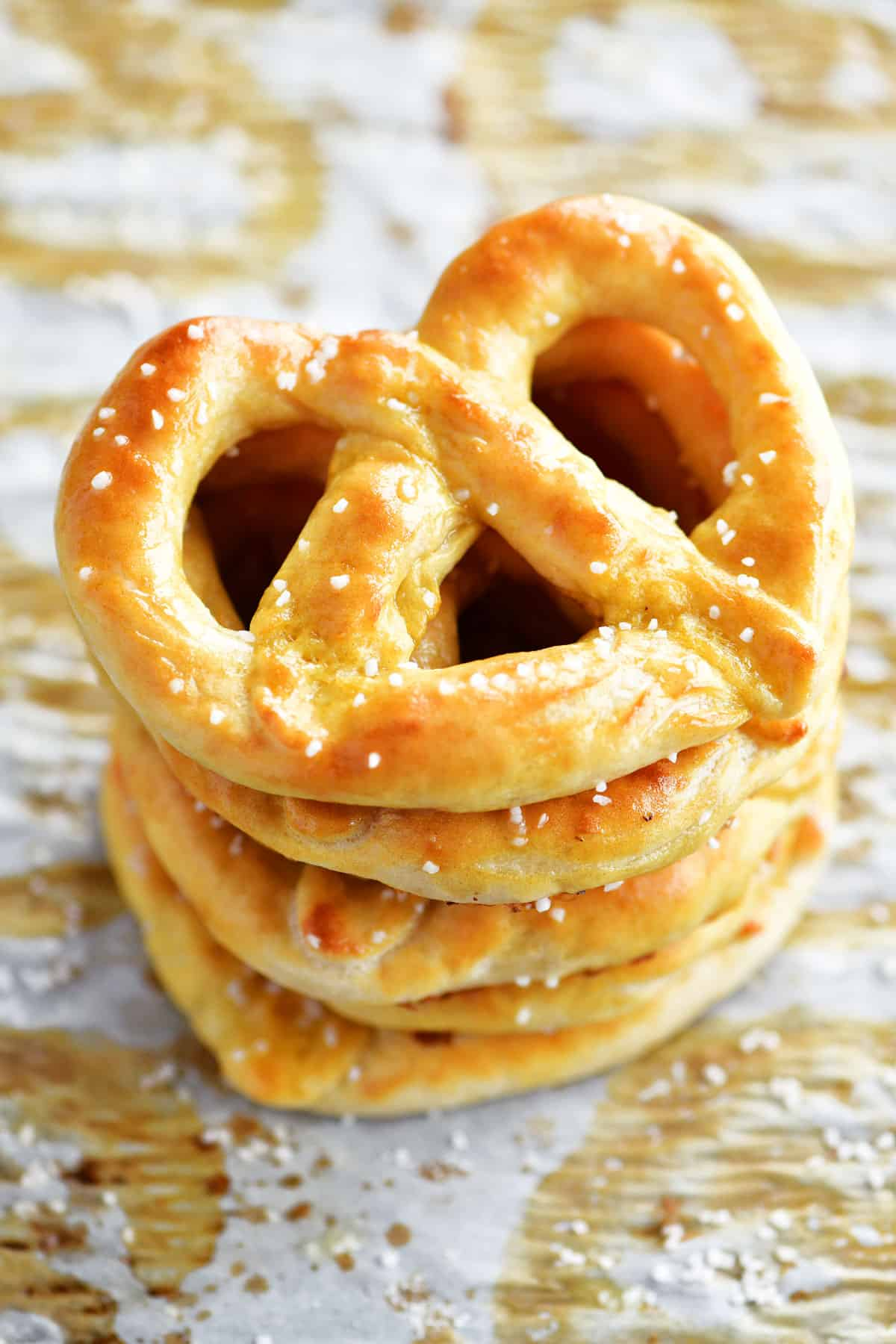 stack of soft pretzels