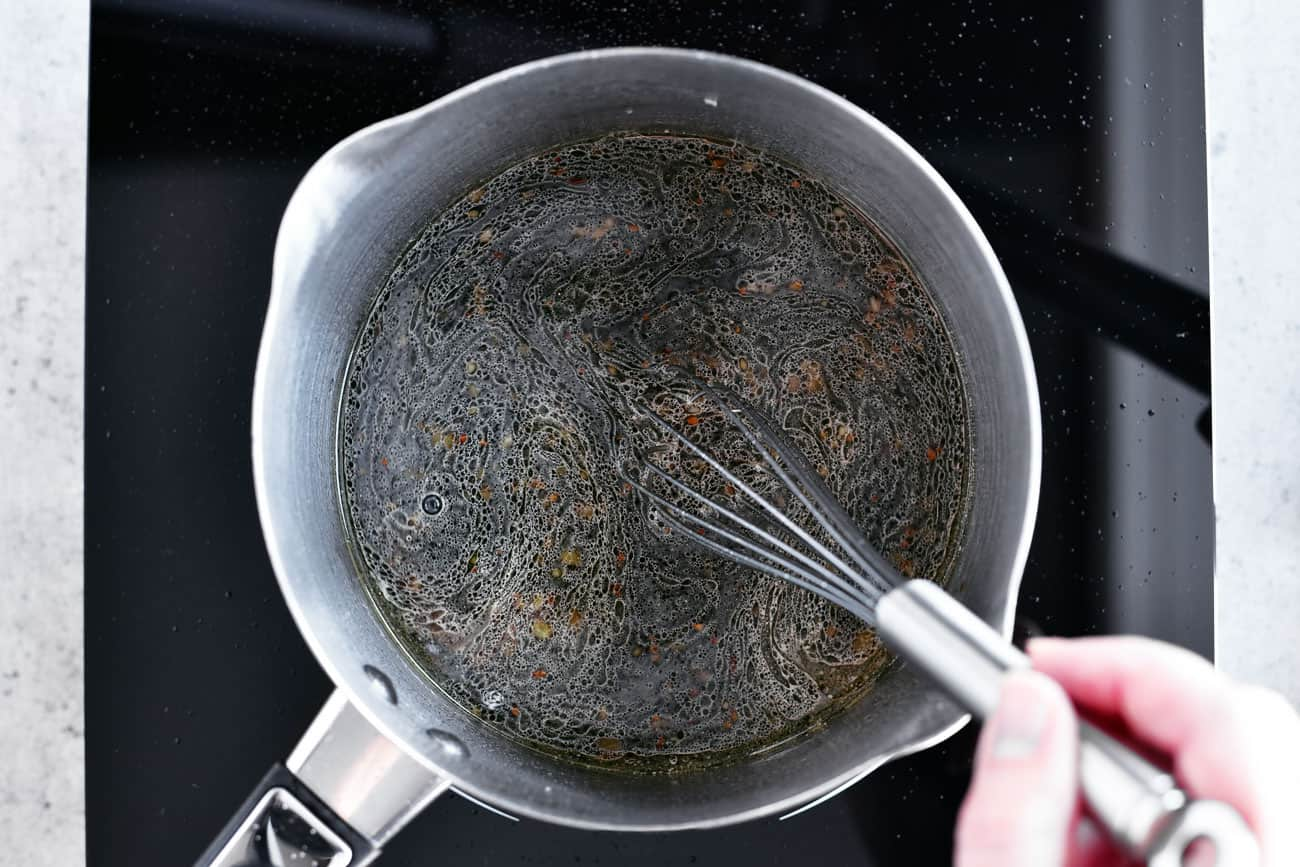 soy sauce mixture in saucepan