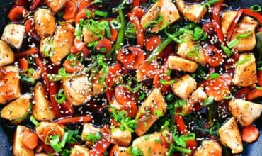 teriyaki chicken in a skillet