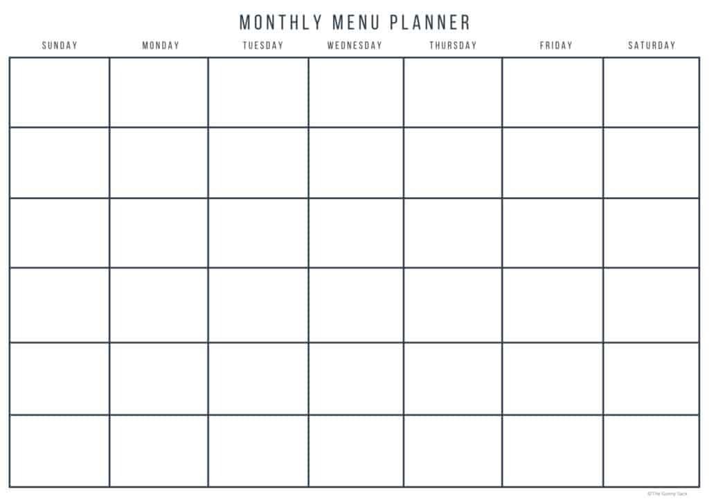 monthly menu planner calendar