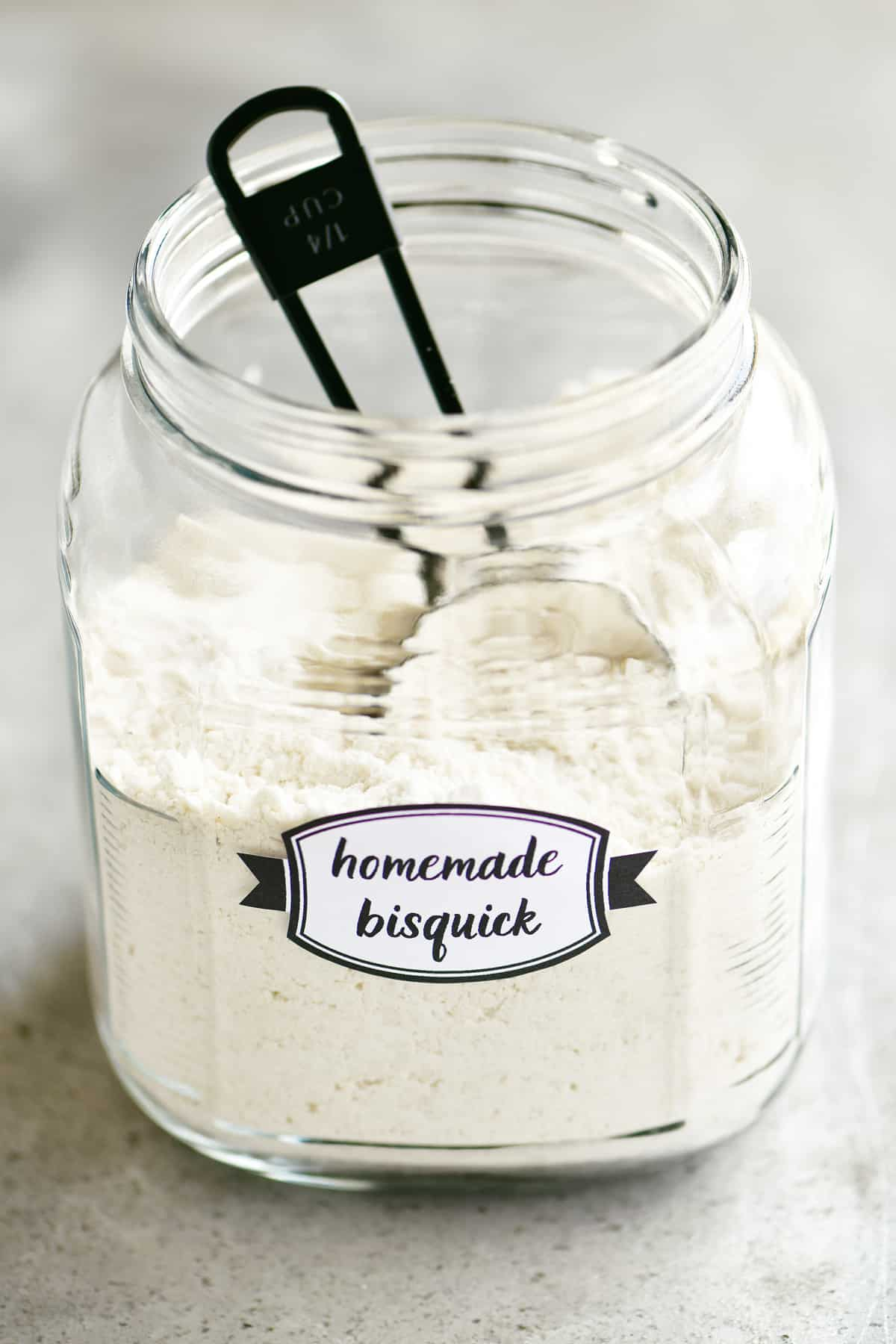 homemade bisquick copycat in mason jar with scoop