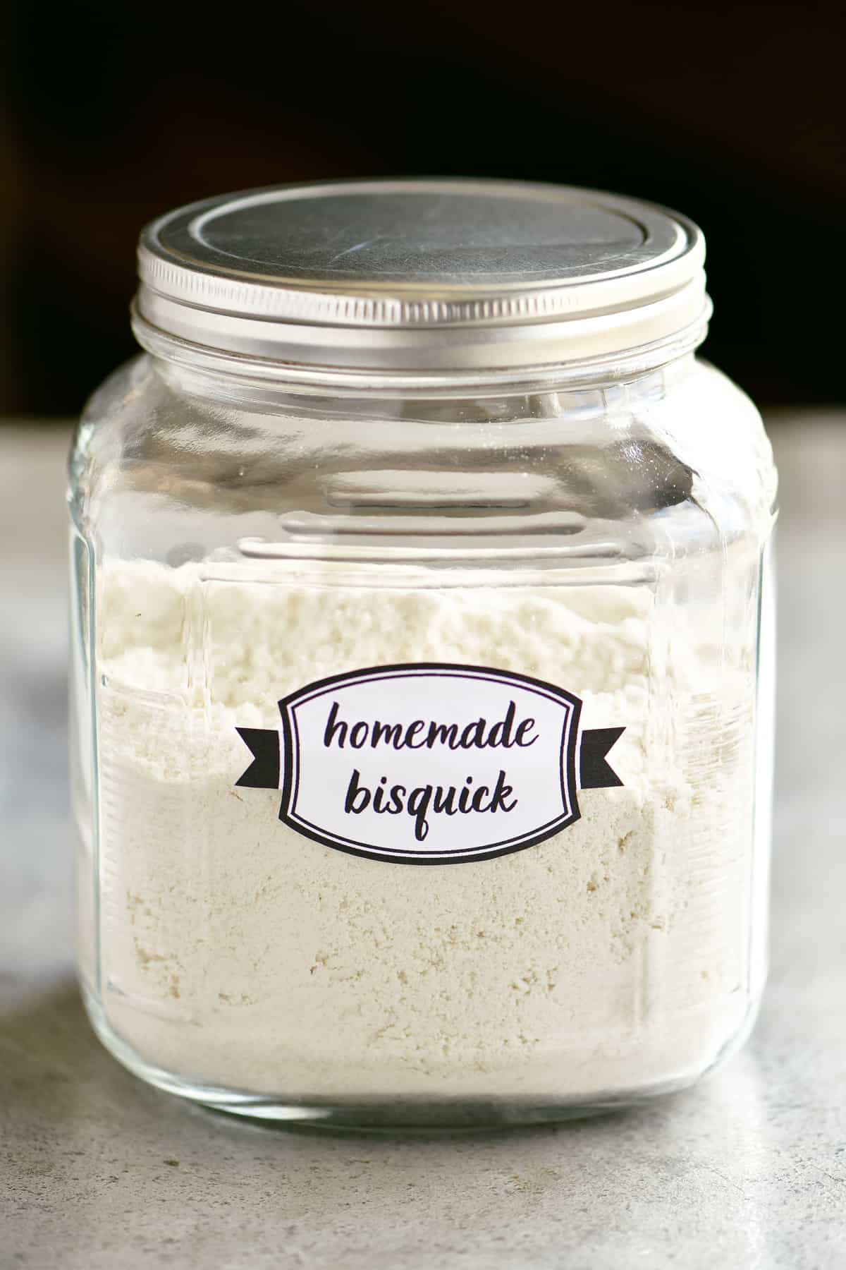 homemade bisquick copycat recipe in jar with lid