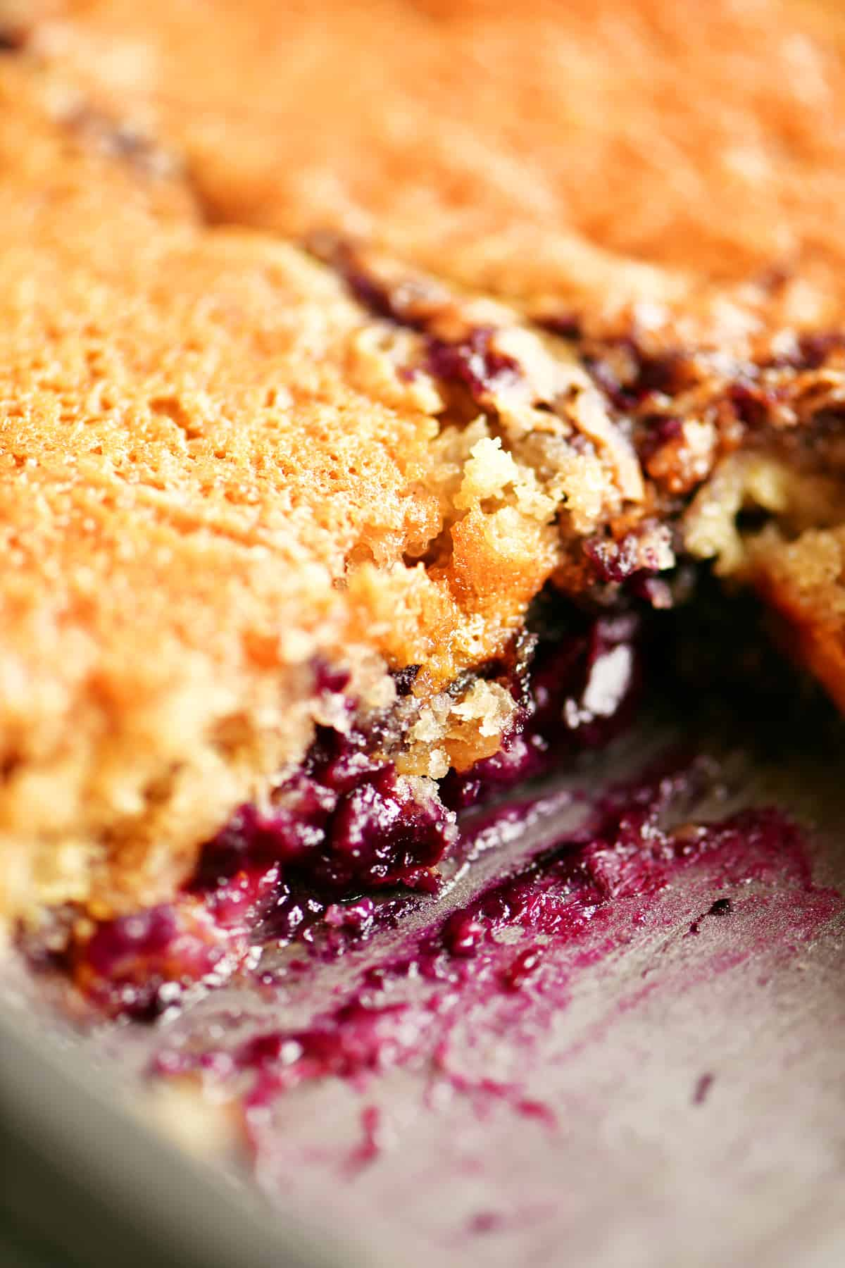 blueberry cobbler with slice removed