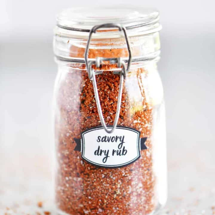 savory dry rub in a small glass jar with label