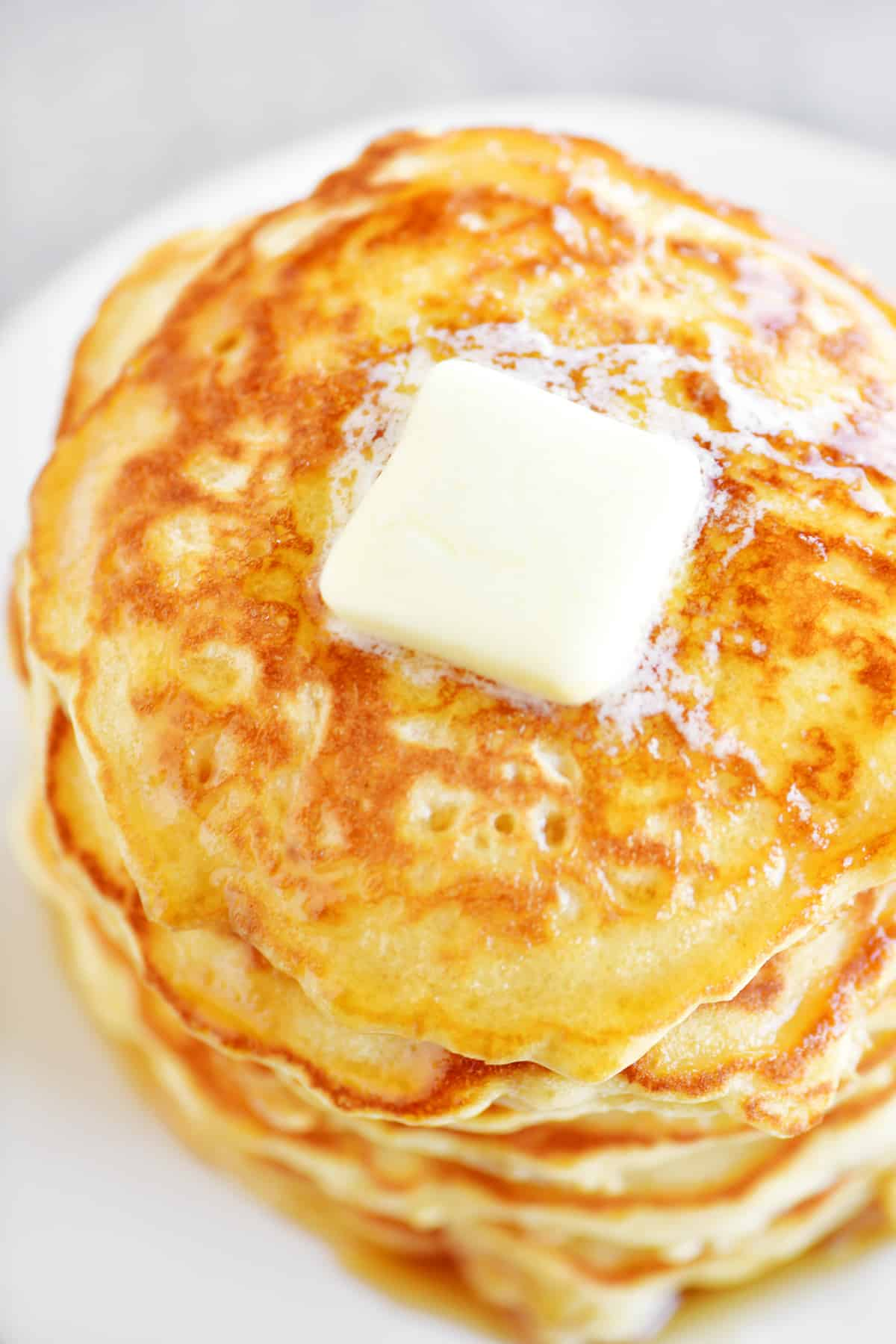 pancakes stack with butter on top