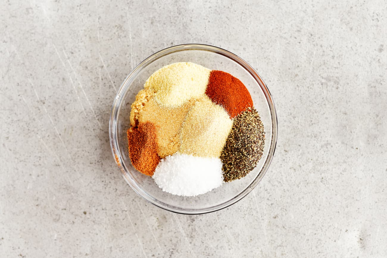 savory dry rub spices in a small bowl