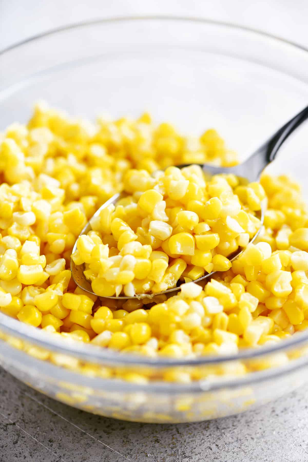 spoonful of corn in a bowl