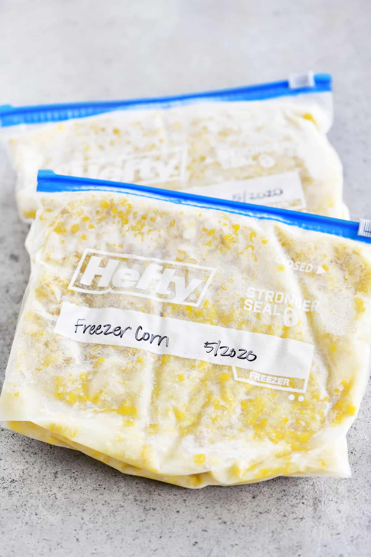 frozen corn in ziptop bags