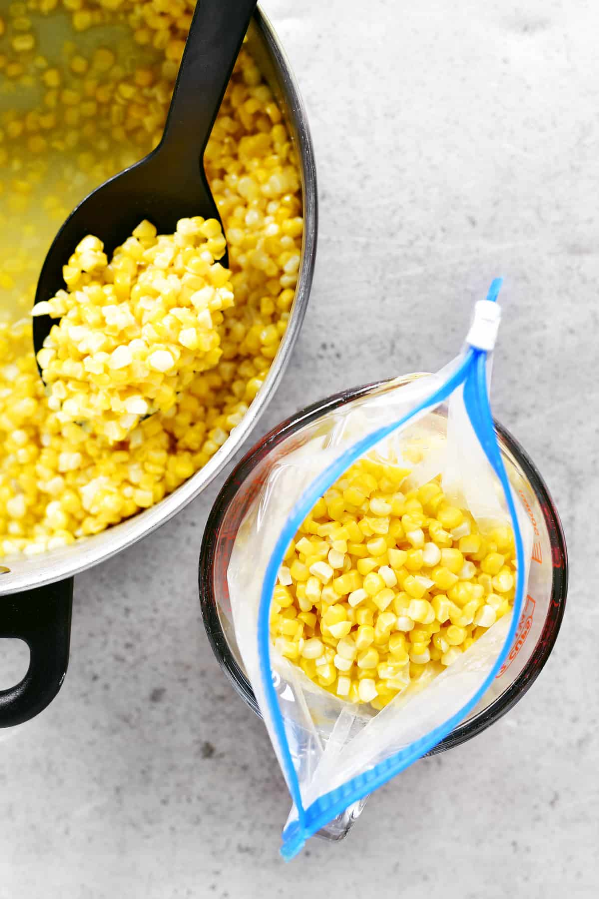 filling baggie with corn kernels