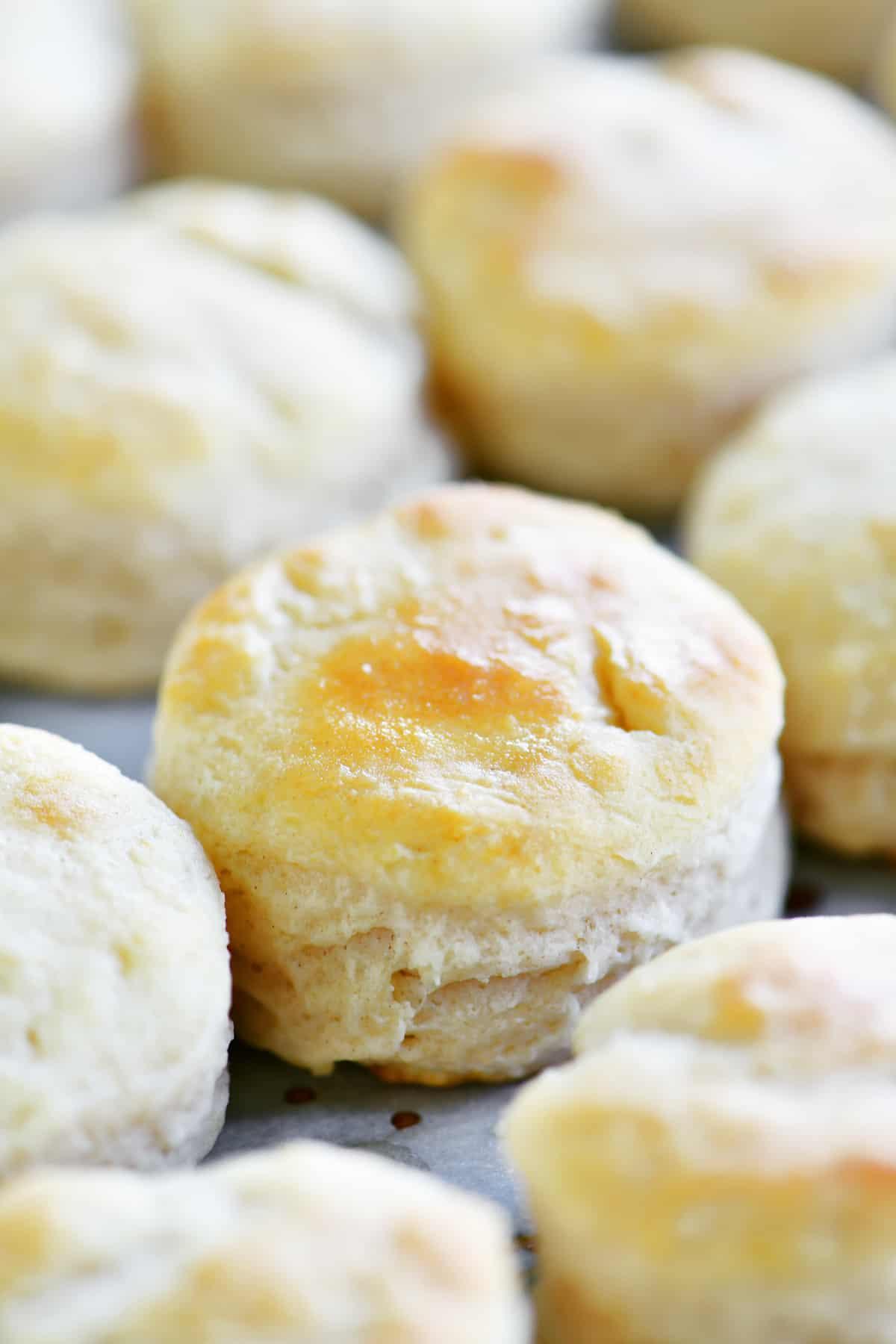 close up of a mini biscuit