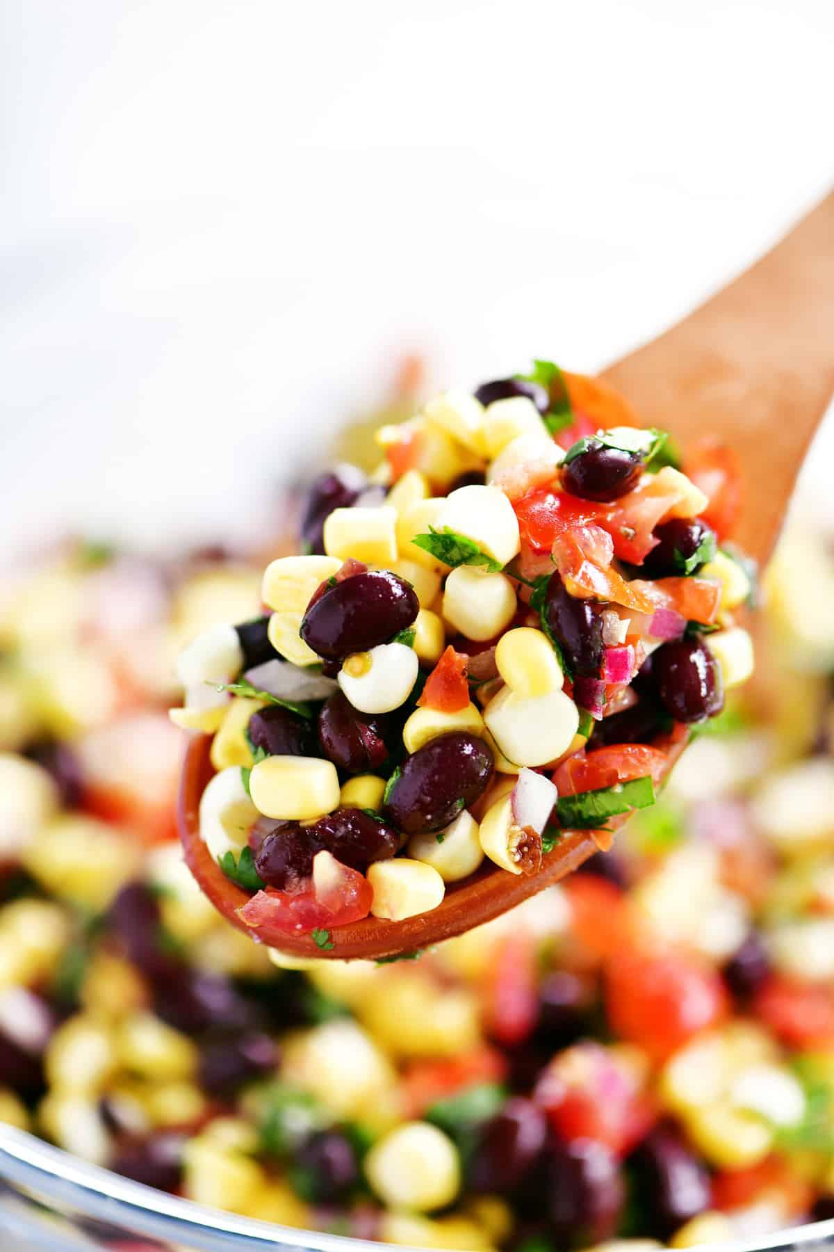 spoonful of black bean corn salsa