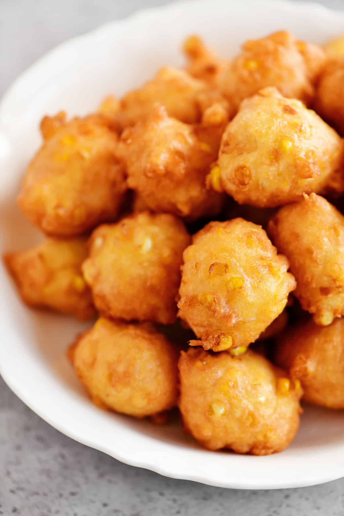 bowl of corn fritters