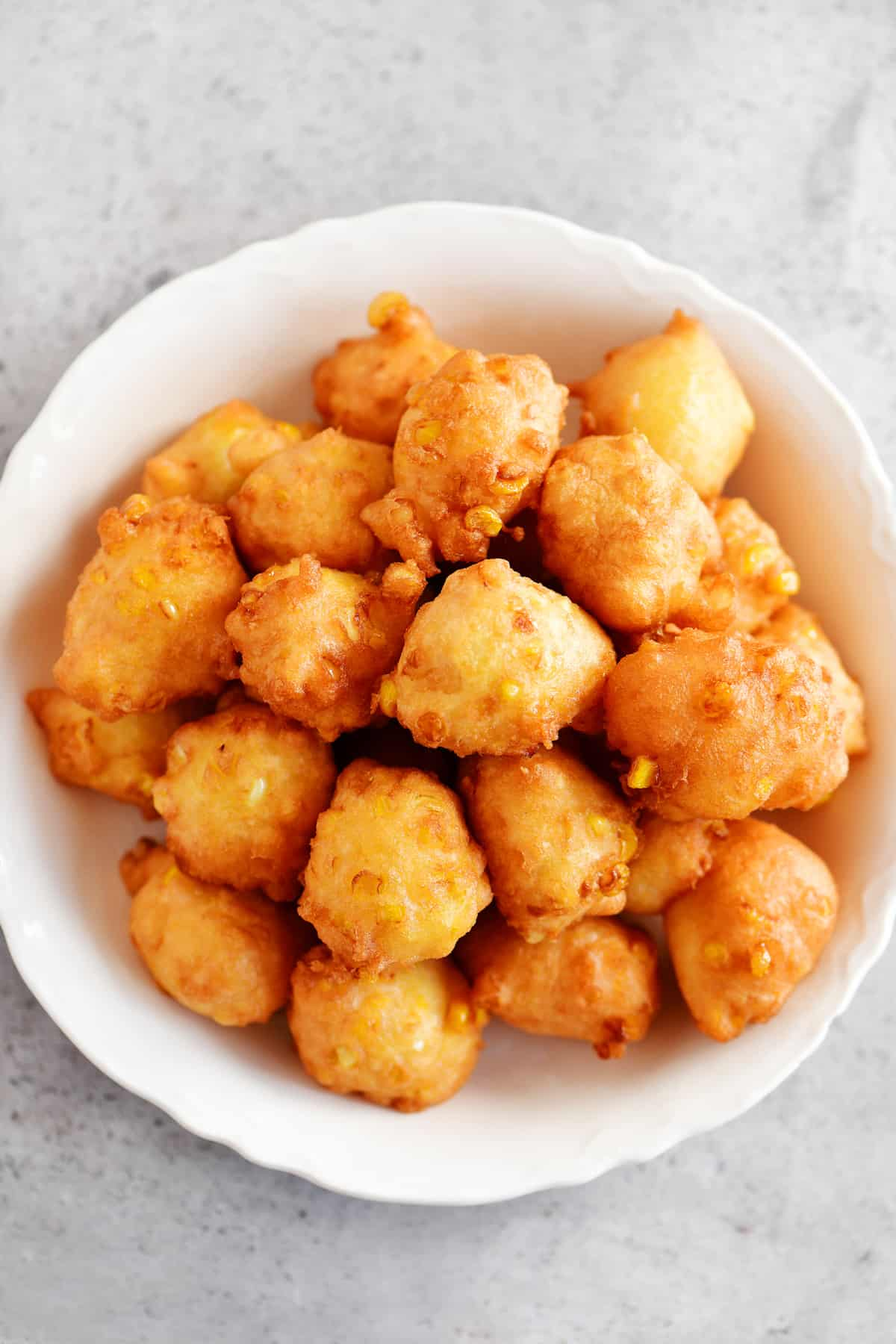 top view of corn fritters