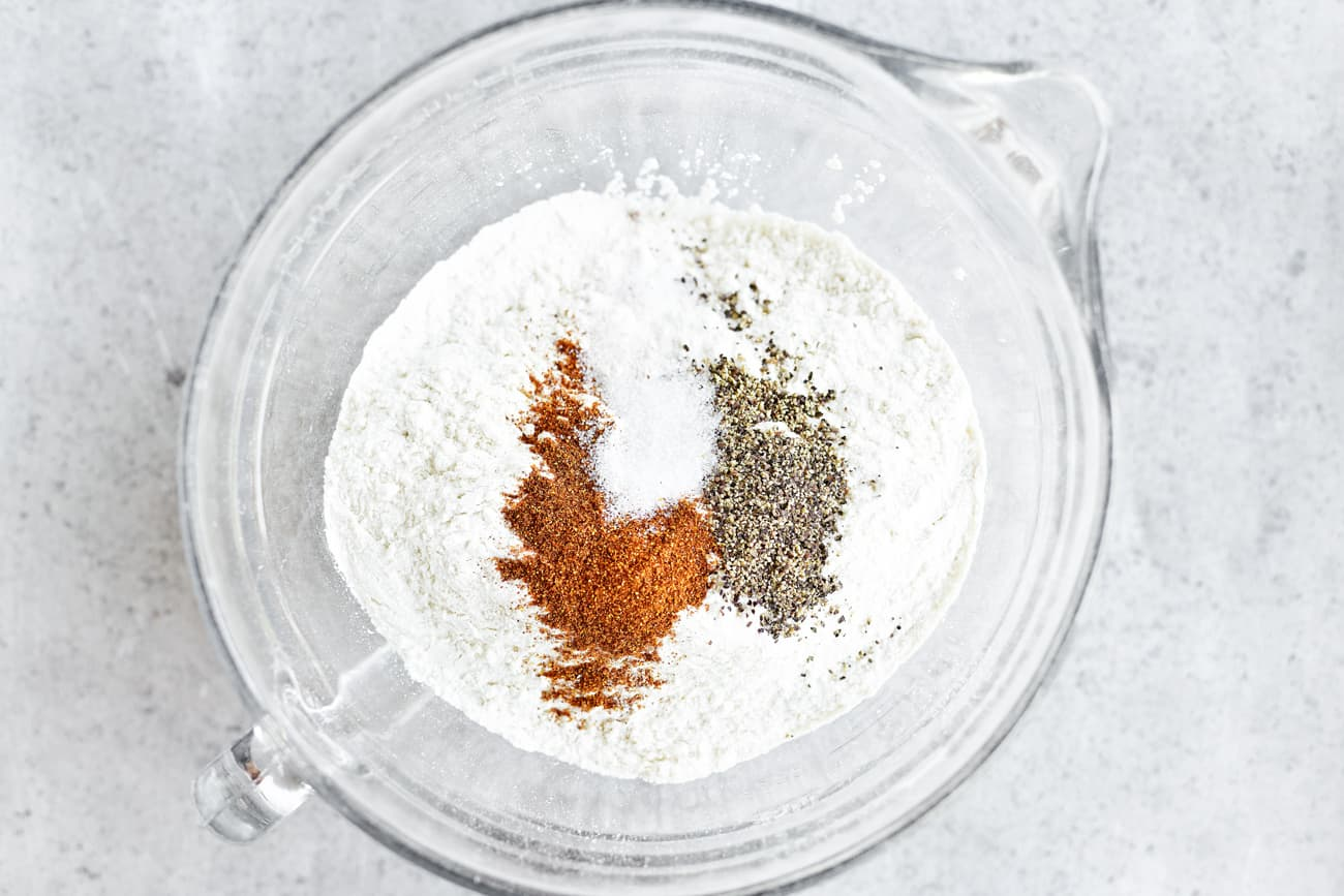 dry ingredients in glass batter bowl