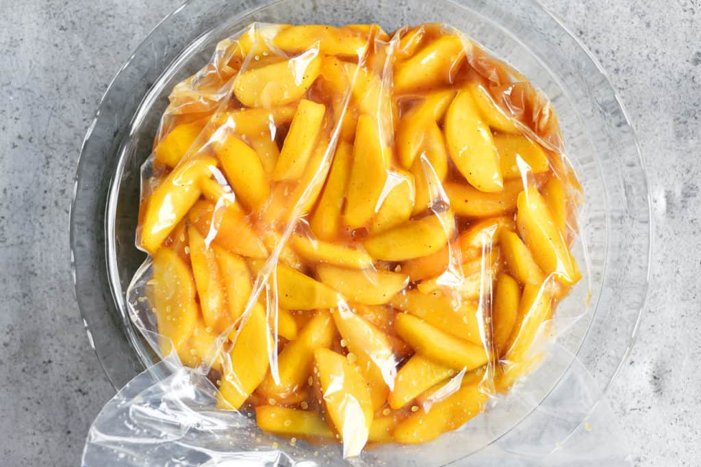 peaches in baggie in pie plate