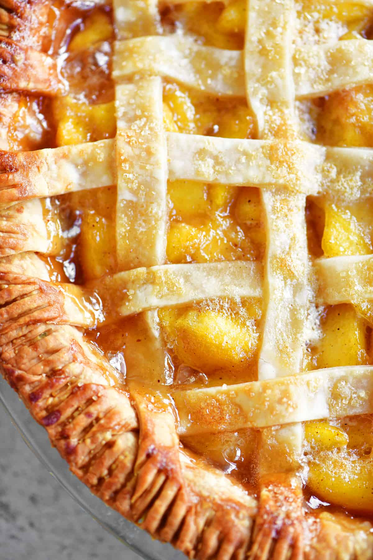 close up of peach pie