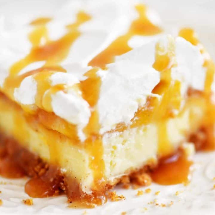 slice of peach cheesecake dessert on plate