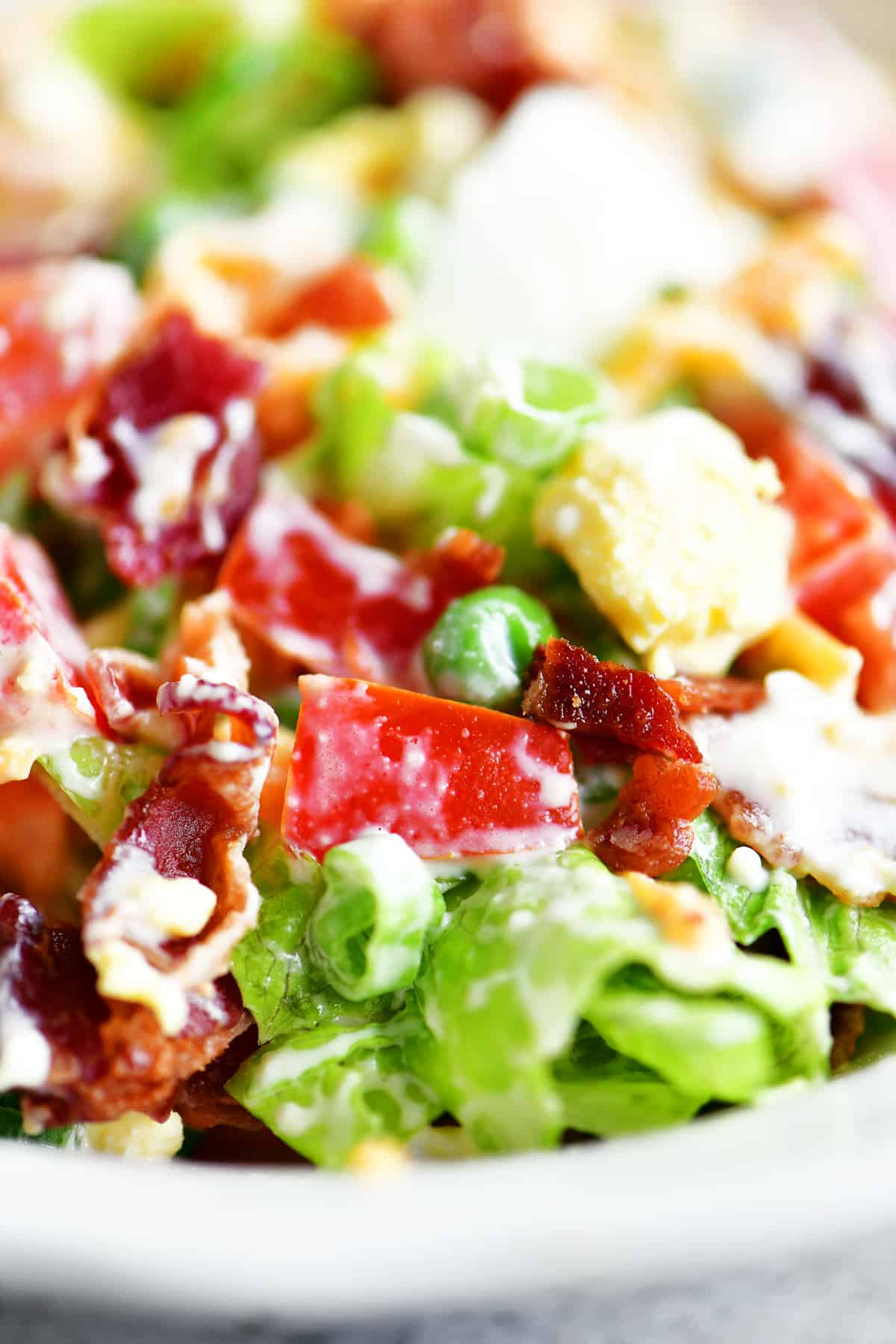 mixed 7 layer salad in bowl