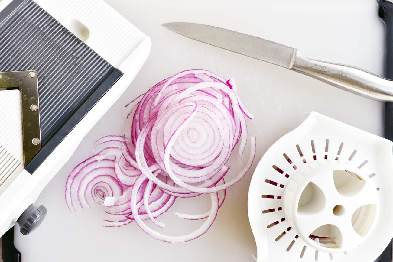 purple onions sliced with mandolin