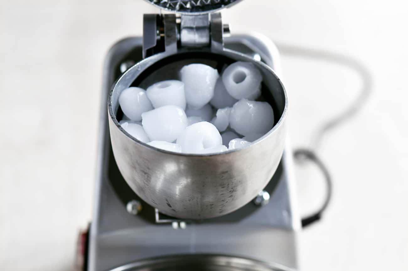 ice cubes in machine