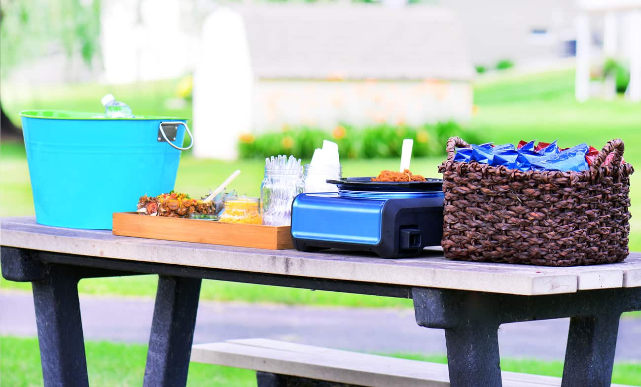 food on a picnic table