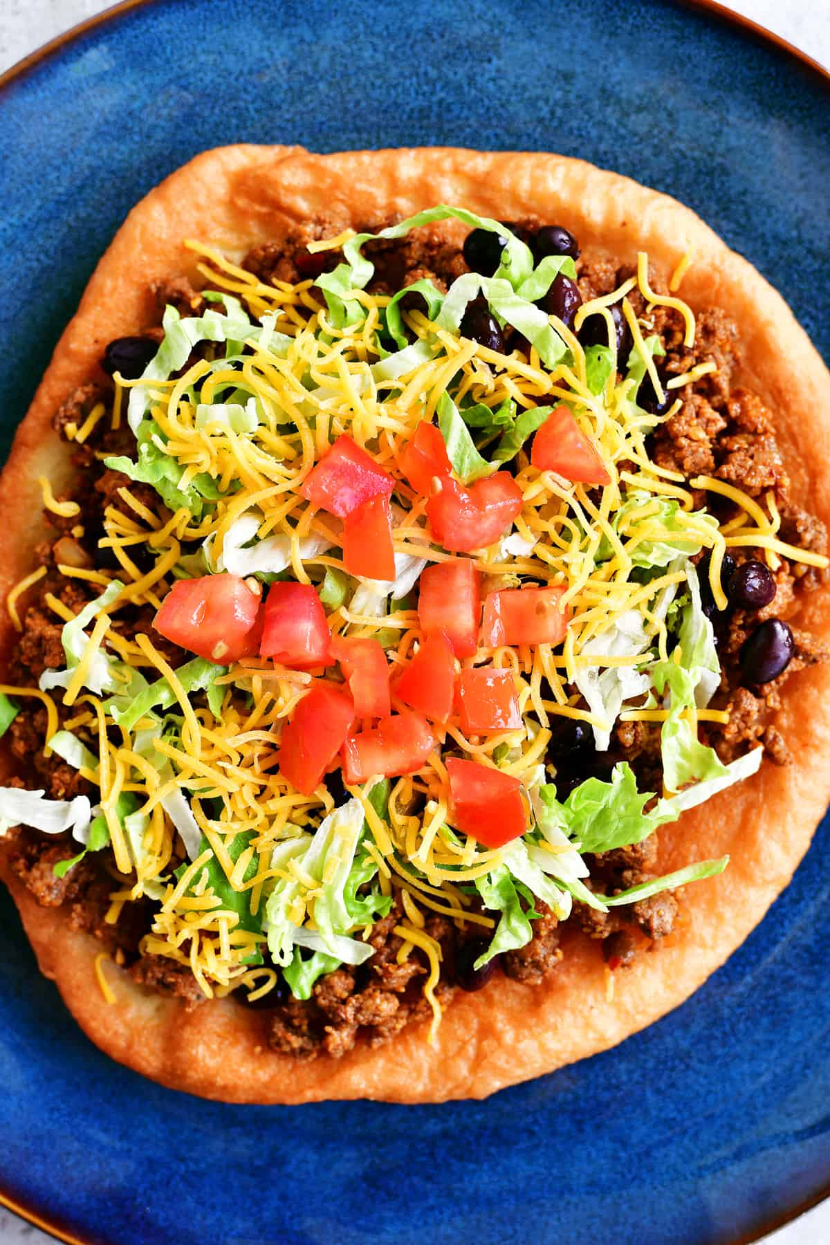 top view of fry bread taco