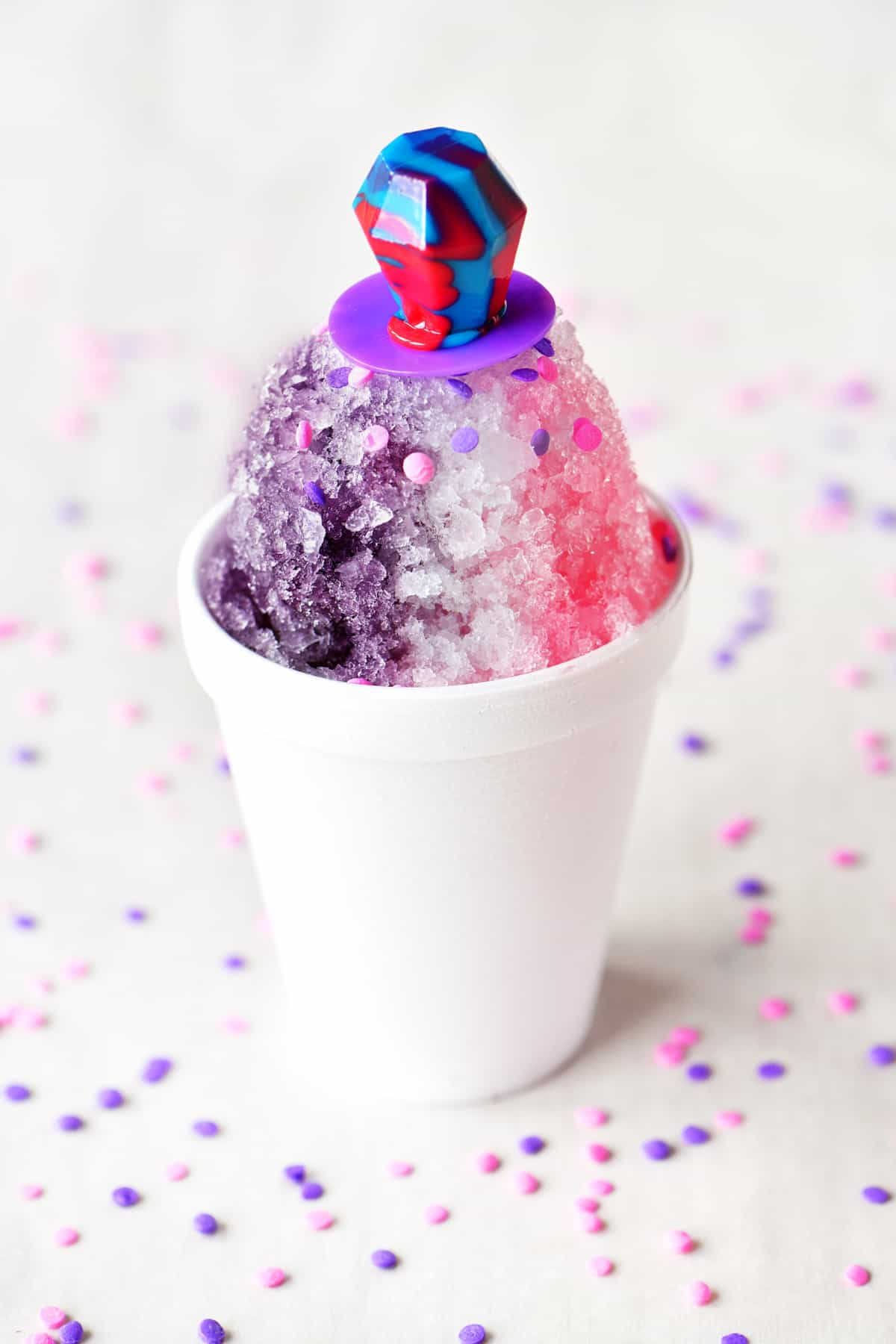 a ring-pop candy themed shave ice