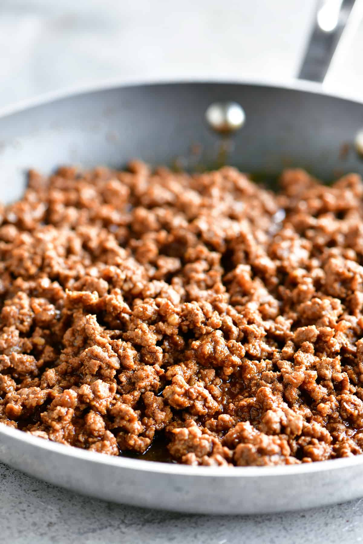 close up of cooked ground beef